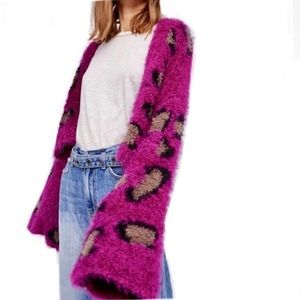 RARE Free people sweater fuzzy cardigan leopard